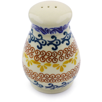 "Polish Pottery Pepper Shaker 3"" Autumn Swirls"