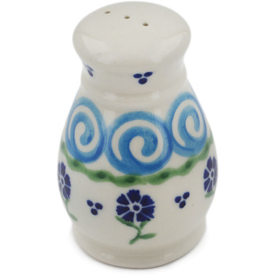 "Polish Pottery Pepper Shaker 3"" Blue Bursts"