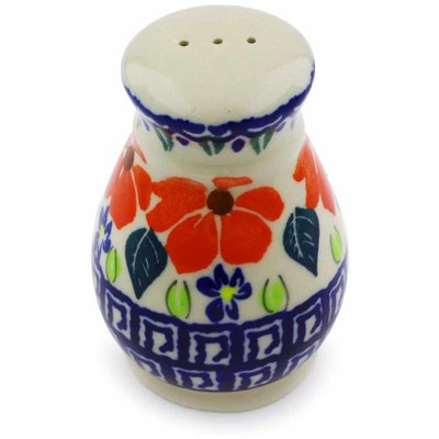 "Polish Pottery Pepper Shaker 3"" Grecian Fields"