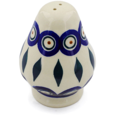 "Polish Pottery Pepper Shaker 3"" Peacock"