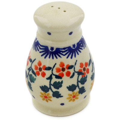 "Polish Pottery Pepper Shaker 3"" Red Sunflower"