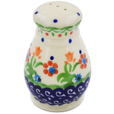 "Polish Pottery Pepper Shaker 3"" Spring Flowers"