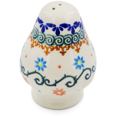 "Polish Pottery Pepper Shaker 3"" Sunflower Dance"