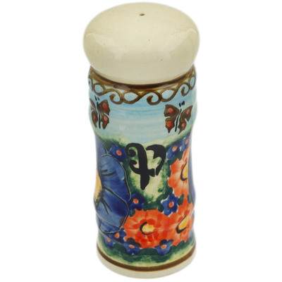 "Polish Pottery Pepper Shaker 5"" Field Of Butterflies UNIKAT"