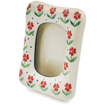 "Polish Pottery Picture Frame 6"" Red Primrose"