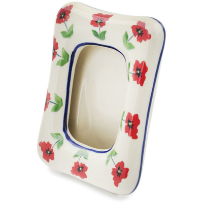 "Polish Pottery Picture Frame 6"" Wind-blown Poppies"