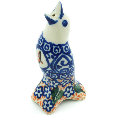 "Polish Pottery Pie Bird 4"" Hope Flower UNIKAT"