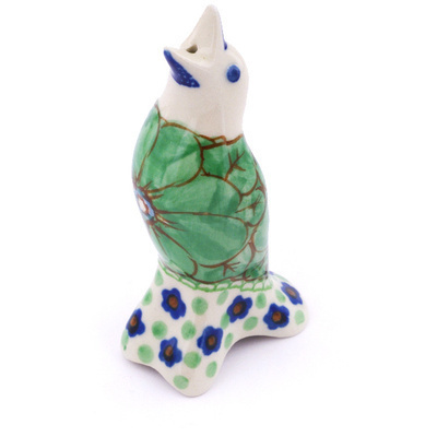 "Polish Pottery Pie Bird 4"" Key Lime Dreams UNIKAT"