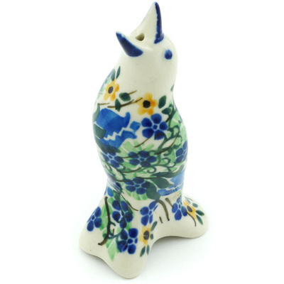 "Polish Pottery Pie Bird 4"" Midnight Rose Bud UNIKAT"