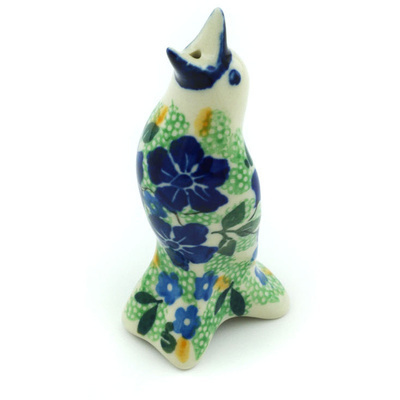 "Polish Pottery Pie Bird 4"" Sitting Blue Birds UNIKAT"