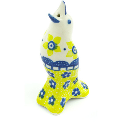 "Polish Pottery Pie Bird 4"" Sunshine"