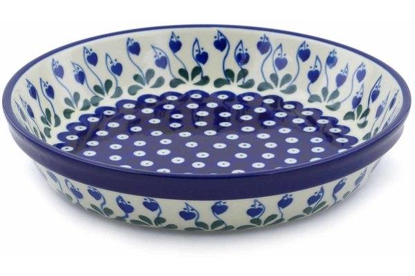 Polish Pottery Pie Dish 10 Inch Flowering Peacock Pie Tart Quiche Pans Kolenik Pie Pans