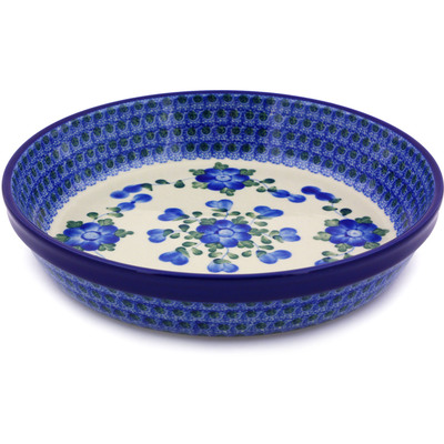 "Polish Pottery Pie Dish 10"" Blue Poppies"