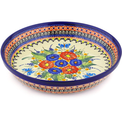 "Polish Pottery Pie Dish 10"" Spring Splendor UNIKAT"