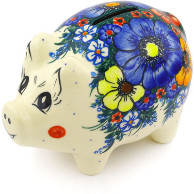 "Polish Pottery Piggy Bank 4"" Summertime Blues UNIKAT"