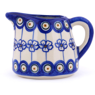 Polish Pottery Pitcher 10 oz Flowering Peacock