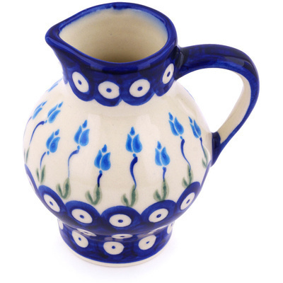 Polish Pottery Pitcher 11 oz Peacock Tulip Garden