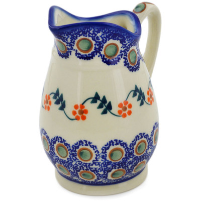 Polish Pottery Pitcher 12 oz Sunflower Peacock
