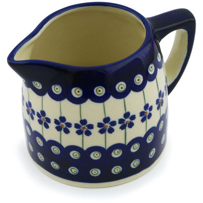 Polish Pottery Pitcher 13 oz Flowering Peacock