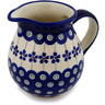 Polish Pottery Pitcher 15 oz Flowering Peacock