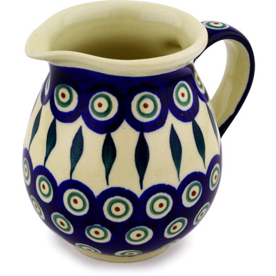 Polish Pottery Pitcher 15 oz Peacock Leaves