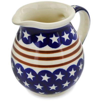 Polish Pottery Pitcher 15 oz Stars And Stripes Forever