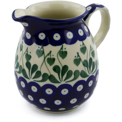 Polish Pottery Pitcher 17 oz Bleeding Heart Peacock