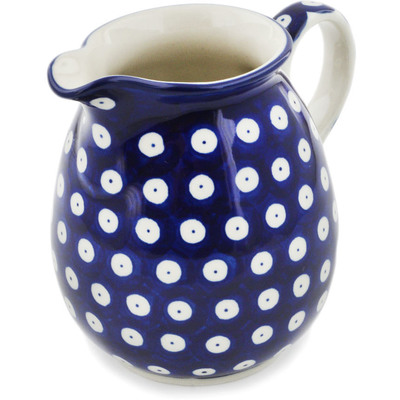 Polish Pottery Pitcher 17 oz Blue Eyes