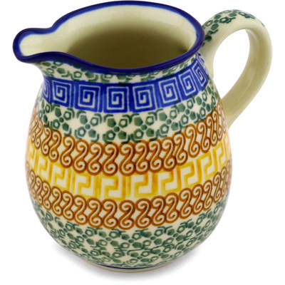 Polish Pottery Pitcher 17 oz Grecian Sea