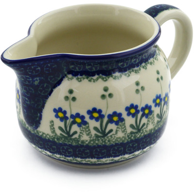Polish Pottery Pitcher 24 oz Blue Daisy Circle