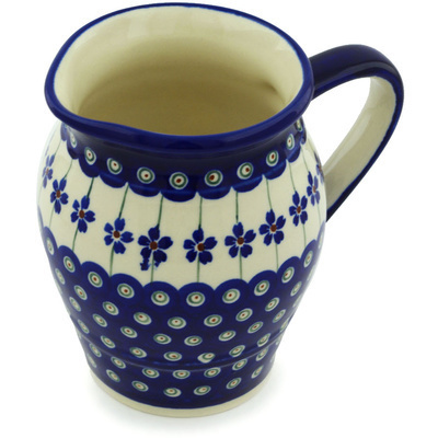 Polish Pottery Pitcher 24 oz Flowering Peacock
