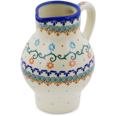 Polish Pottery Pitcher 24 oz Sunflower Dance