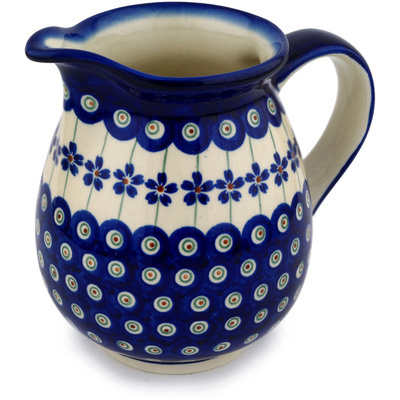 Polish Pottery Pitcher 28 oz Flowering Peacock