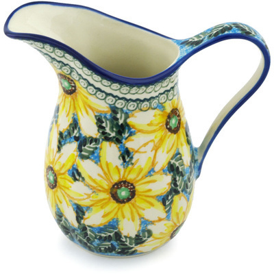 Polish Pottery Pitcher 3½ Cup Black Eyed Susan UNIKAT