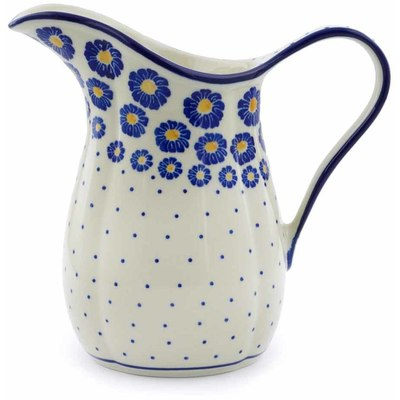 Polish Pottery Pitcher 3½ Cup Blue Zinnia