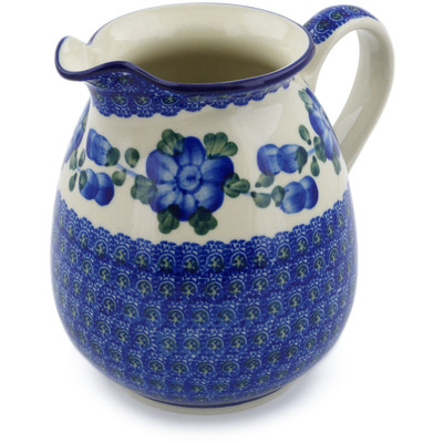 Polish Pottery Pitcher 3½ cups Blue Poppies