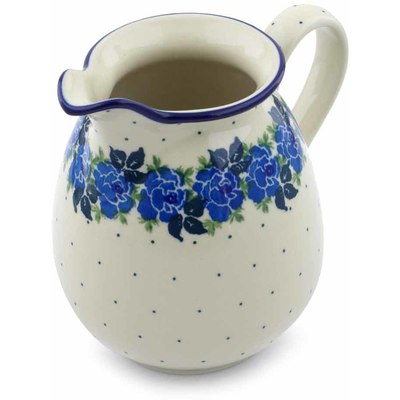 Polish Pottery Pitcher 3½ cups Blue Rose