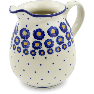 Polish Pottery Pitcher 3½ cups Blue Zinnia