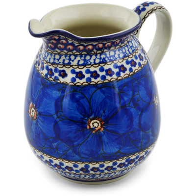 Polish Pottery Pitcher 3½ cups Cobalt Poppies UNIKAT