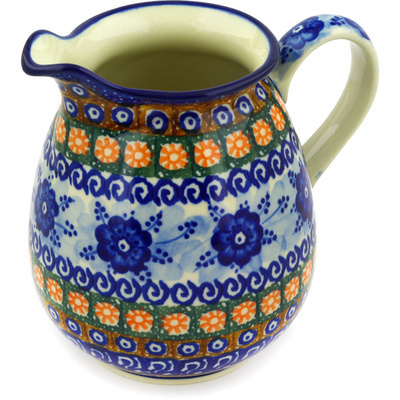 Polish Pottery Pitcher 3½ cups Dancing Blue Poppies UNIKAT