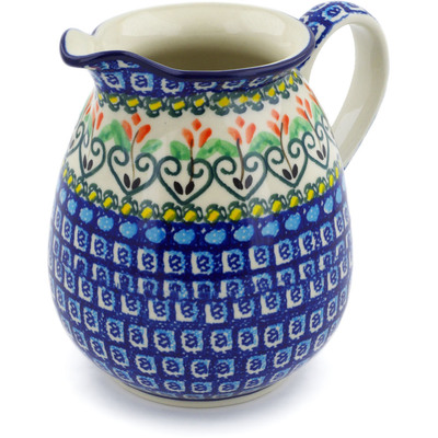 Polish Pottery Pitcher 3½ cups Heart Vines UNIKAT