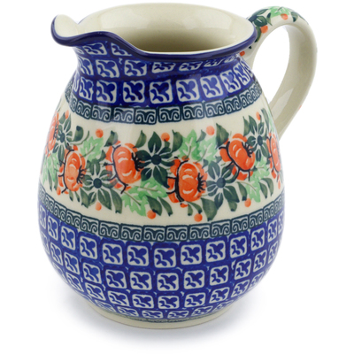 Polish Pottery Pitcher 3½ cups Orange Cabbage Wreath UNIKAT