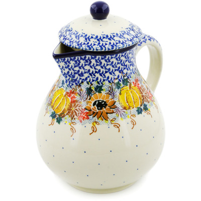 Polish Pottery Pitcher 34 oz Autumn Falling Leaves UNIKAT