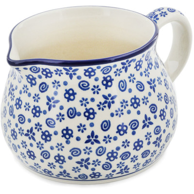 Polish Pottery Pitcher 34 oz Blue Confetti