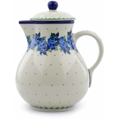 Polish Pottery Pitcher 34 oz Blue Rose