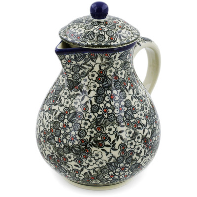 Polish Pottery Pitcher 34 oz Classic Black And White UNIKAT