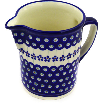 Polish Pottery Pitcher 34 oz Flowering Peacock