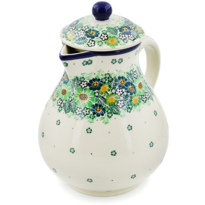 Polish Pottery Pitcher 34 oz Green Wreath UNIKAT
