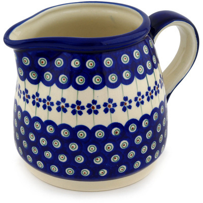 Polish Pottery Pitcher 40 oz Flowering Peacock