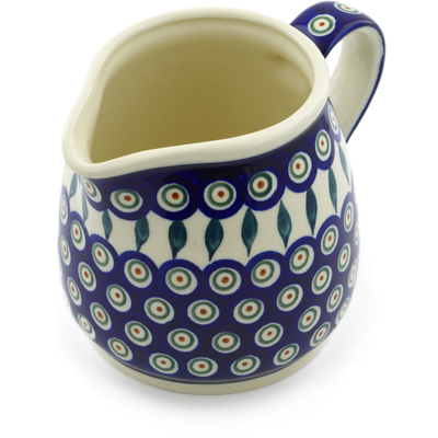 Polish Pottery Pitcher 40 oz Peacock Leaves